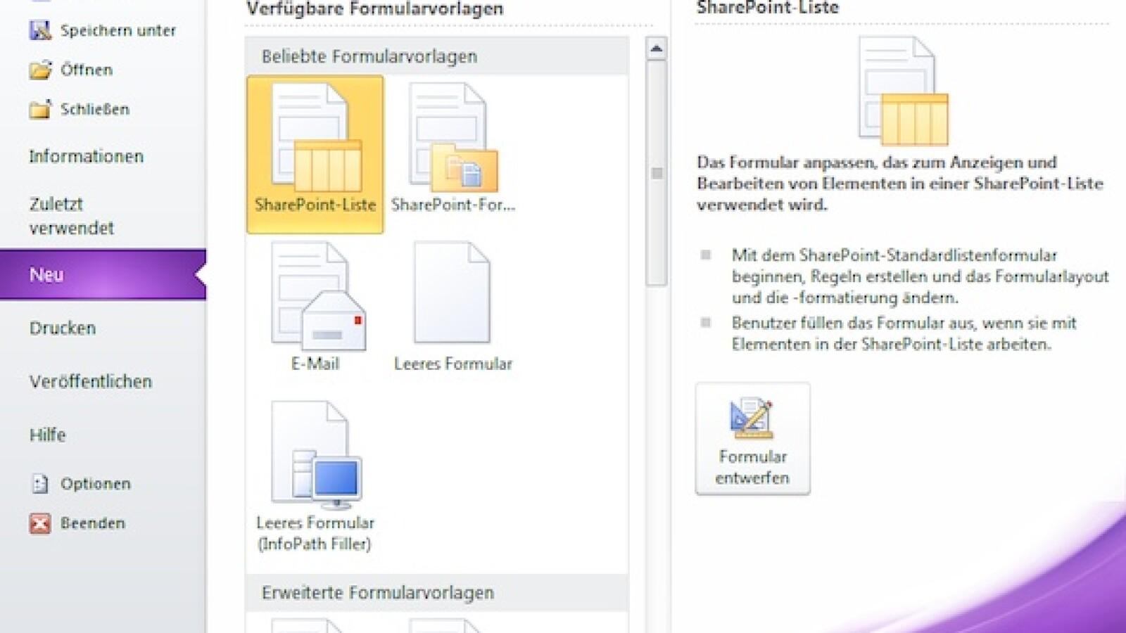 Microsoft InfoPath: Formulare für Web und Druck mit Office 2010 ...