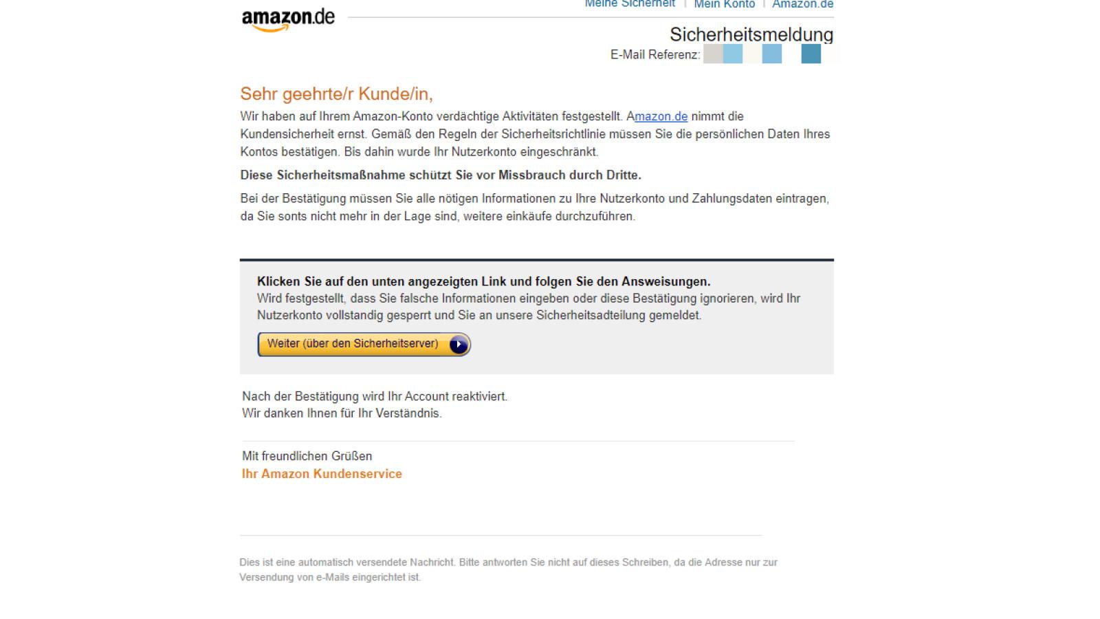 Amazon Konto Eingeschränkt Email