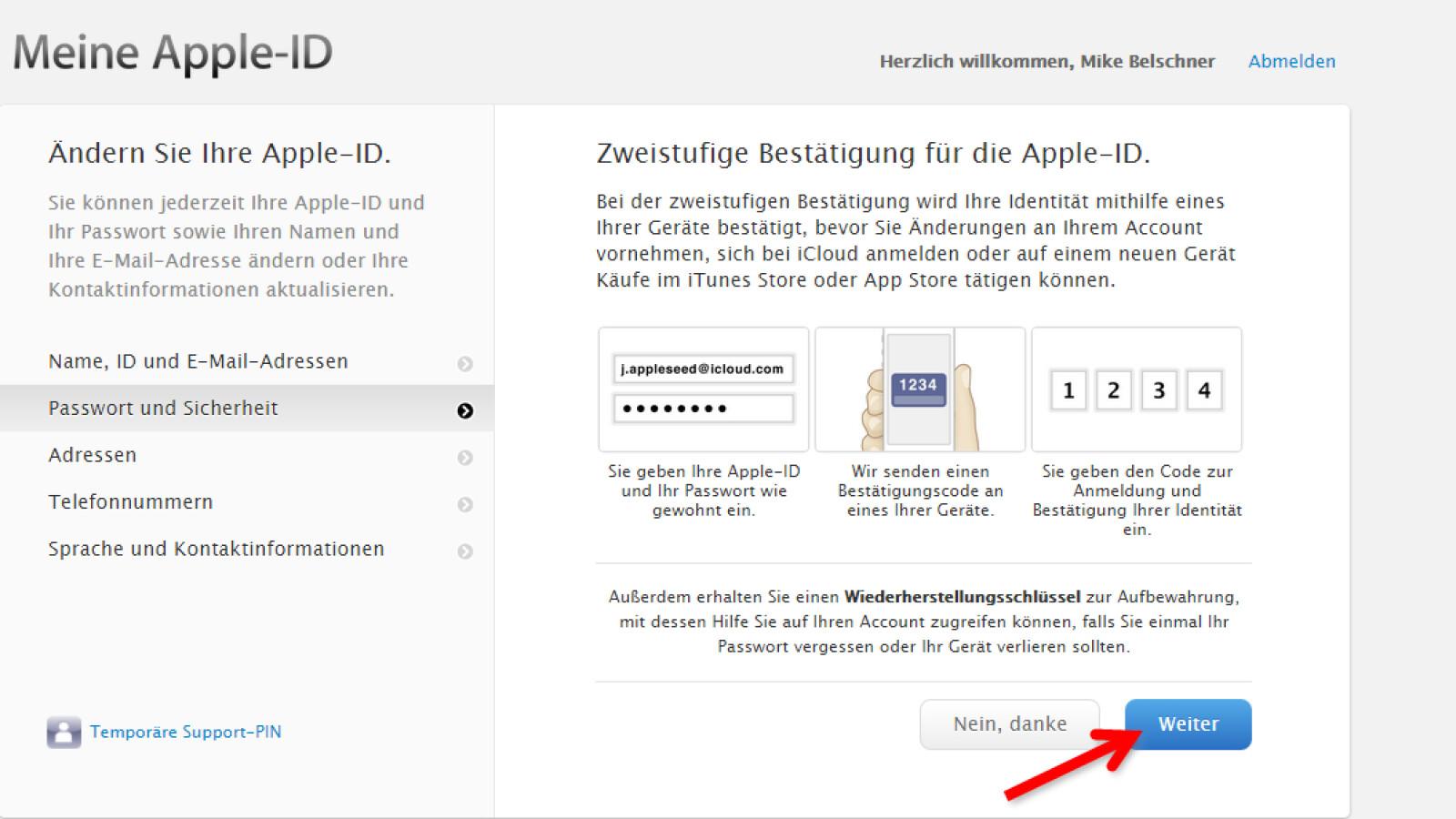 Wiederherstellungsschlüssel Apple