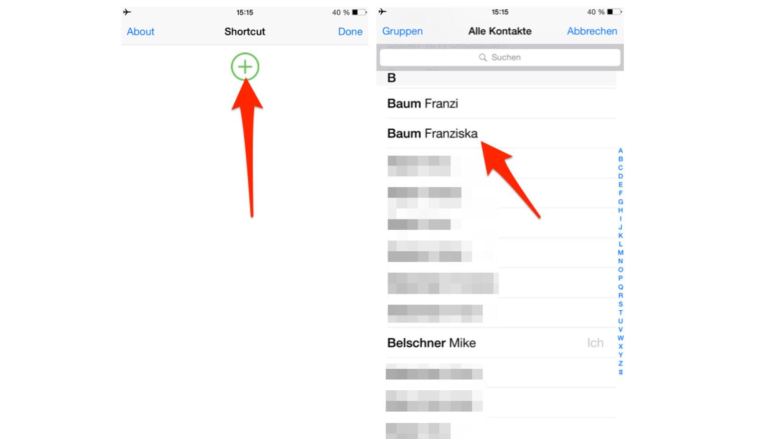 Shortcuts zu häufig benötigten WhatsApp-Kontakten