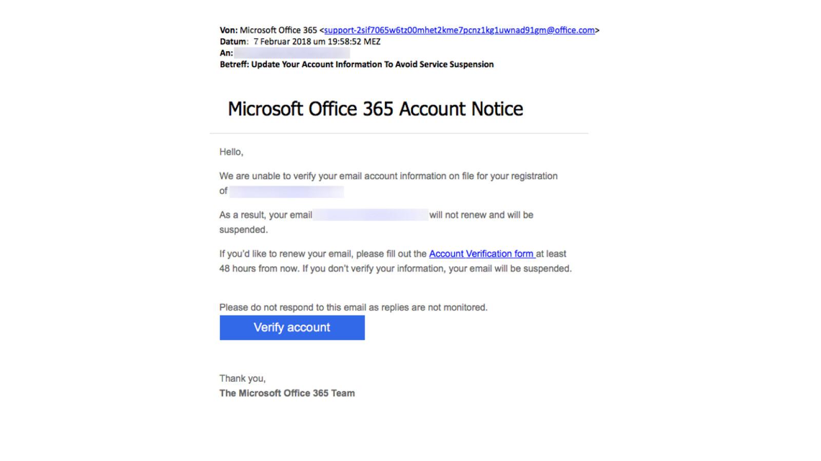 Microsoft-Phishing: Vorsicht, gefährliche Office 365-Mails im Umlauf ...