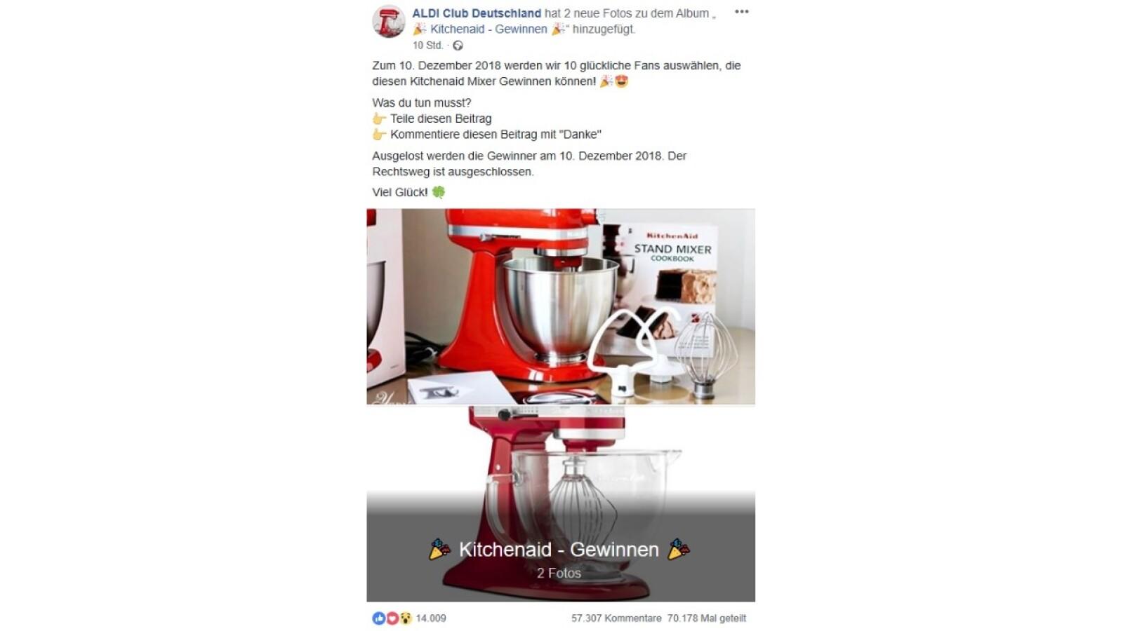 facebook gewinnspiele gibt es hier einen kitchenaid vom aldi club netzwelt. Black Bedroom Furniture Sets. Home Design Ideas