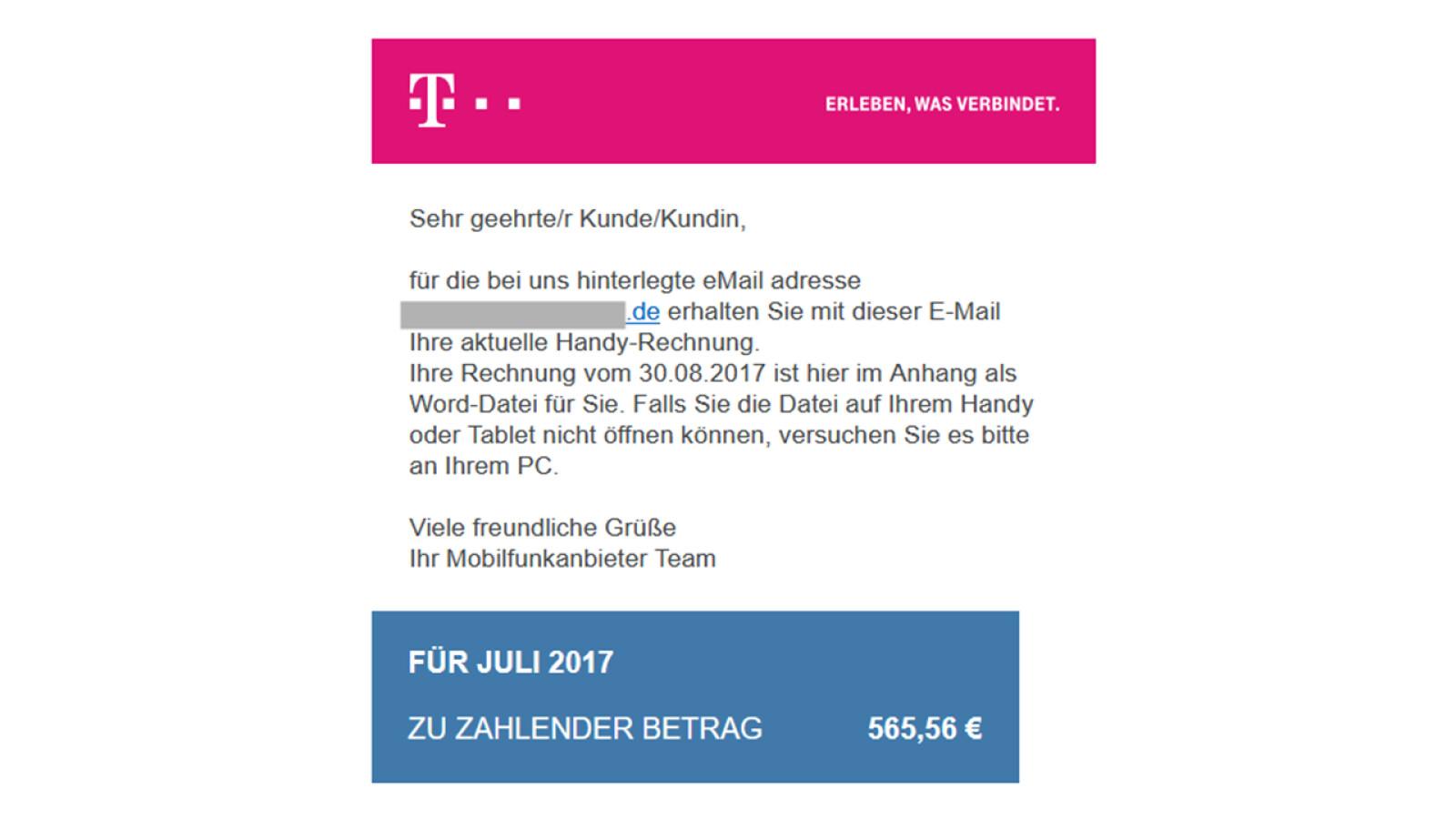 Telekom Gefälschte Rechnungen
