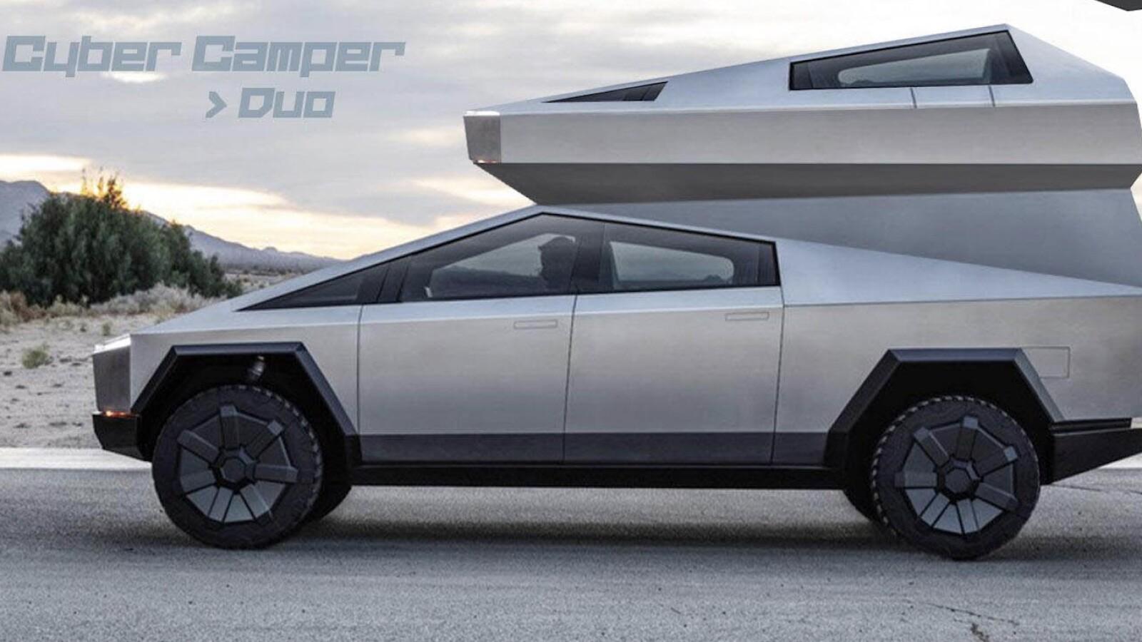 """Tesla Cybertruck als """"Cyber Camper"""": Und auf dem Touchscreen prasselt das Lagerfeuer"""