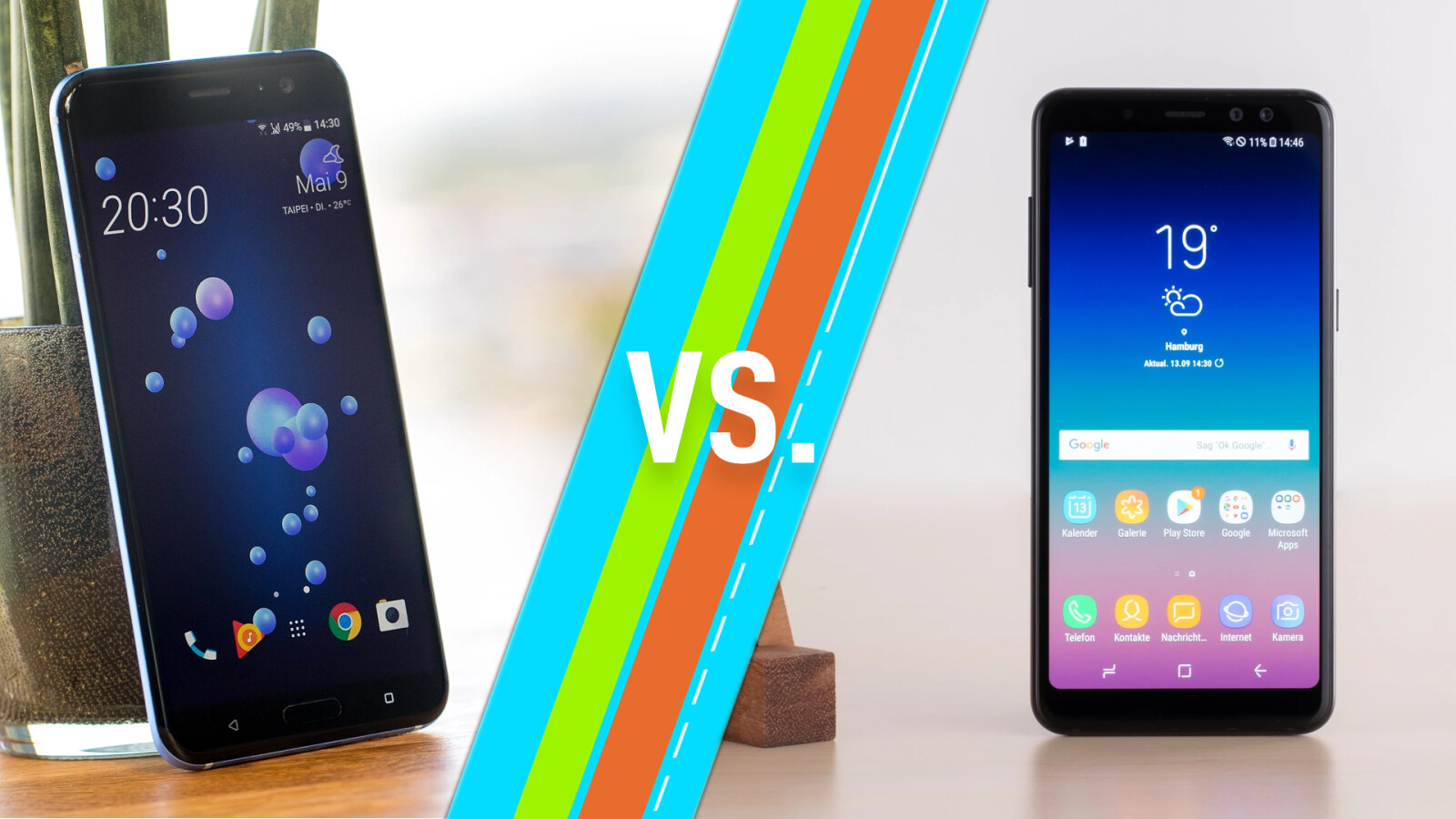 HTC U11 vs. Samsung Galaxy A8 (2018): Smartphones im Vergleich