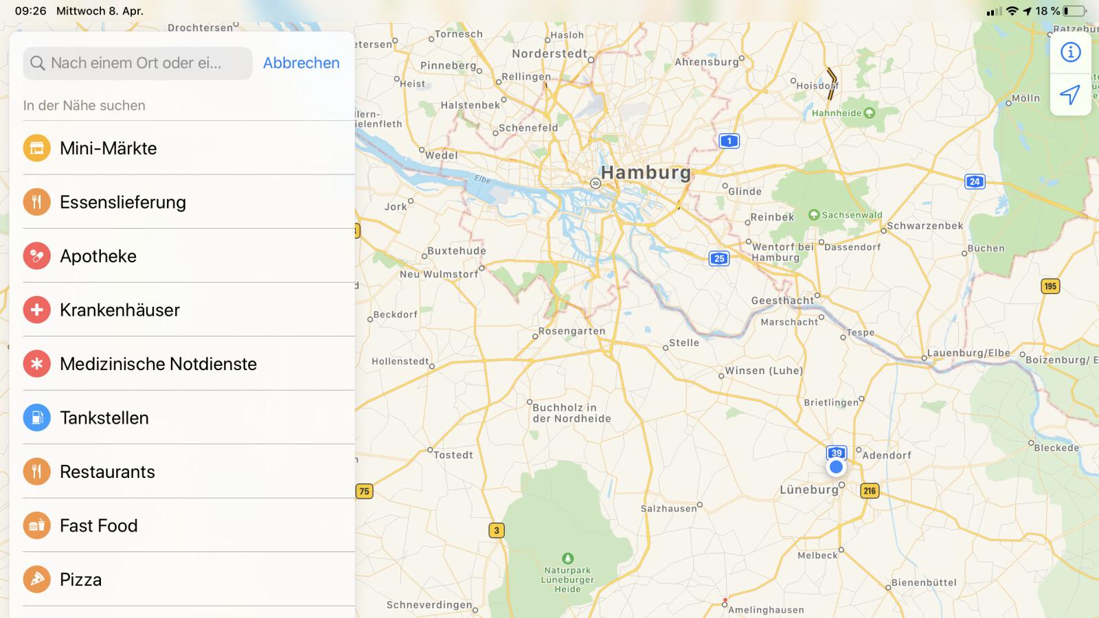Apple: Karten-App rückt Lieferdienste und medizinische Einrichtungen in den Fokus