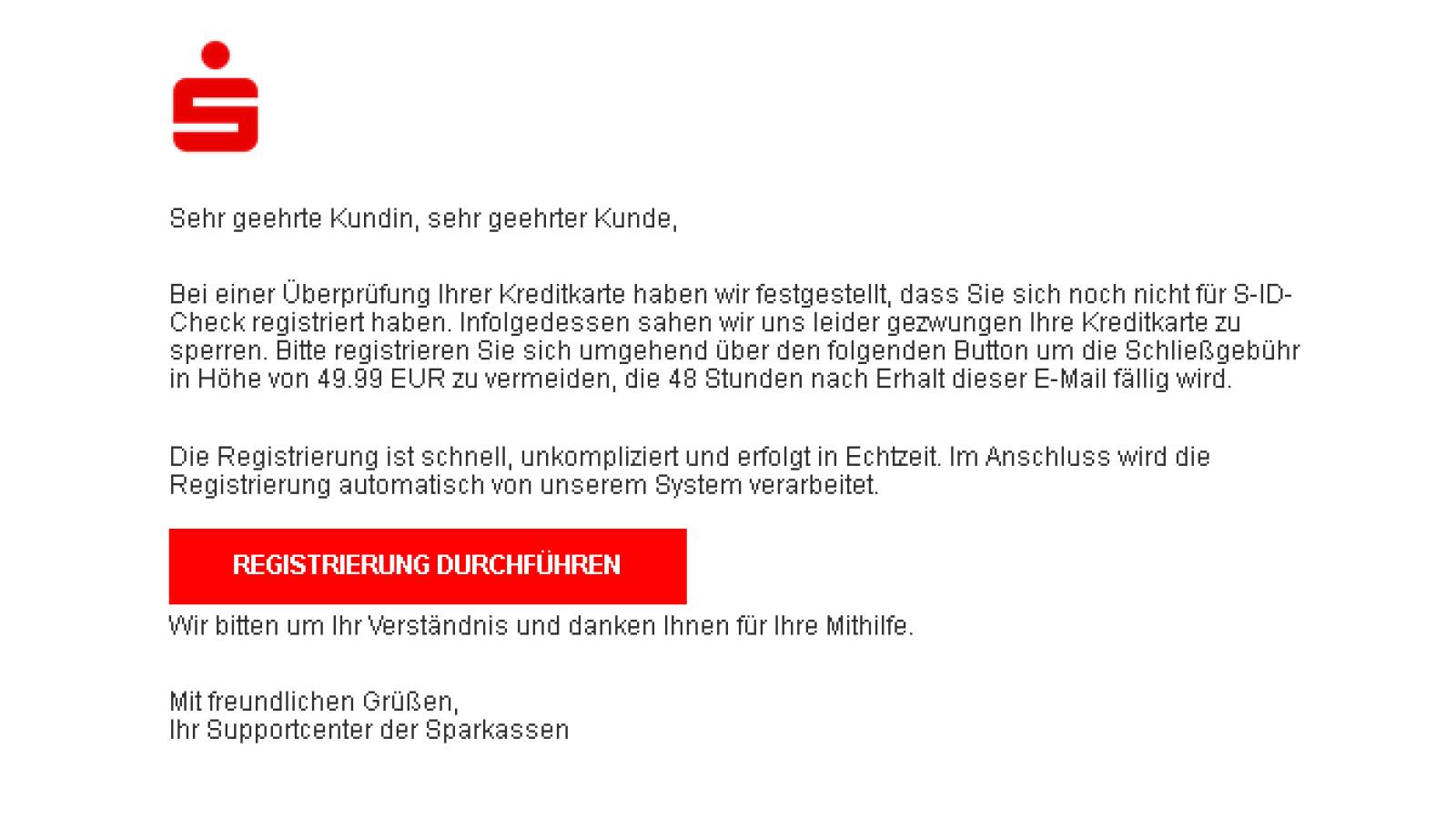 Sparkasse: Aufforderung zur Registrierung für S-ID-Check ist Phishing