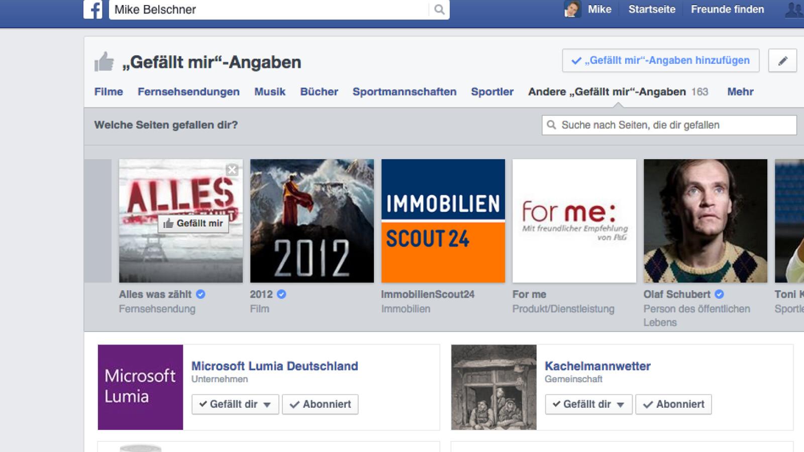 Zweites Facebook Profil