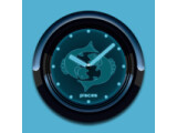 Icon: PISCES - Neon Blue Clock