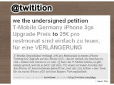 Bild: Twitter-Protest gegen den Preis fürs iPhone-Upgrade: Bisher haben sieben Nutzer die Petition gegen die hohen Kosten bei T-Mobile unterzeichnet.