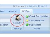 Bild: Nach der Eingabe des Google-Kontos funktioniert OffiSync unter Word, Excel und Powerpoint.