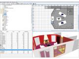 Bild: Das viergeteilte Hauptprogrammfenster von Sweet Home 3D erlaubt schnelles Erstellen und Ändern einer Wohnung.
