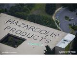 """Bild: """"Gefährliche Produkte"""": Mit einem spektakulären Dach-Graffiti will Greenpeace auf die angeblichen Umweltsünden HPs aufmerksam machen."""