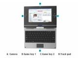 Bild: Das Skytone Alpha 680 lässt sich mit den Tasten neben dem Bildschirm auch bedienen, wenn es auf die Tastur geklappt ist.