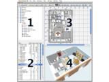 Bild: 1. Möbel-Katalog 2. Wohnungs-Möbel-Liste 3. Grundriss 4. Die 3D-Ansicht