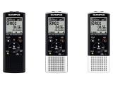 Bild: Drei neue Diktiergeräte von Olympus: VN-8700PC, VN-8600PC und VN-8500PC. Die Aufnahmen lassen sich auch auf den PC übertragen und dann mit Dragon Naturally Speaking in Text umwandeln.