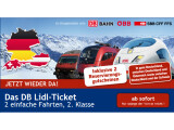 Bild: Seit heute wieder im Angebot: Für 73 Euro bietet das DB Lidl-Ticket zwei einfache Fahrten durch Deutschland, nach Österreich oder in die Schweiz.
