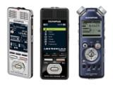 Bild: Die Olympus-Rekorder DM-3 und DM-5 (links und Mitte), sind als vielseitig einsetzbare Diktiergeräte konzipiert, der LS-5 (rechts) eignet sich besonders für hochwertige Musikaufnahmen. (Fotos: Olympus)