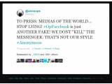 """Bild: """"Wir töten nicht den Boten"""", heißt es in einer Mitteilung im offiziellen Twitter-Kanal von Anonymous."""