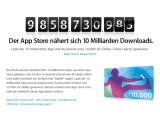 Bild: Auf der Apple Webseite läuft bereits ein Countdown zur 10 Milliarden Downloads-Grenze.