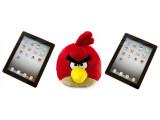 Bild: Ein roter Angry Bird und zwei iPads machen sich auf den Weg zur Internationalen Raumstation. (Bild iPad: netzwelt, Bild Plüschvogel: Rovio)