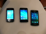 Bild: Die drei ersten Wave-Handys mit Bada 2.0 vereint: Ganz rechts das Wave 3