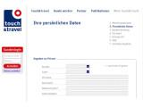 Bild: Die Internet-Anmeldemaske von Touch and Travel offenbart Kundendaten.