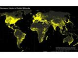 Bild: Die Karte zeigt die Geopositionen aller Regionen, Städte und Events, die in der englischsprachigen Wikipedia vermerkt wurden.