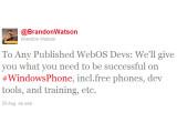 Bild: Per Twitter möchte Microsoft WebOS-Entwickler für Windows Phone abwerben.