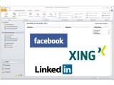 Bild: Soziale Netzwerke in Outlook? Kein Problem mit den offiziellen Plugins.