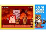 Bild: Super Mario wird in dem PETA-Spiel von einem gehäuteten Marderhund verfolgt.