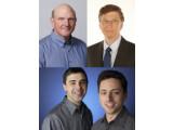 Bild: Vier Ex-Superschurken des Digitalzeitalters: Steve Ballmer, Bill Gates, Sergey Brin und Larry Page (im Uhrzeigersinn).