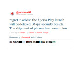 Bild: Vodafone teilte den Verlust an Sony Ericsson-Geräten per Twitter mit.