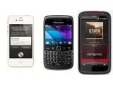 Bild: Welches Handy ist das richtige? iPhone, Blackberry oder Android – das ist die große Frage für Weihnachten 2011. (Fotos: Apple, HTC, RIM)
