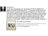 Bild: Bei dem Kommetar-Flashmob werden Unterstützer aufgefordert diesen Text auf der Facebook-Seite des Wall Street Journals zu posten.