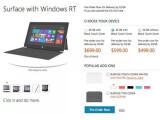 Bild: Die Preise für Surface waren kurzfristig im Microsoft Store einsehbar. Screenshot: Engadget.com)