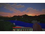 Bild: Der Sonnenuntergang in Minecraft nach einem ereignisreichen Tag.