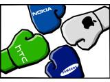 Bild: Vierkampf: Netzwelt wagt einen ersten Vergleich zwischen HTC One X, Nokia Lumia 920, Apple iPhone 5 und dem Samsung Galaxy S3.