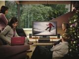 Bild: Weihnachten mit Sony: Die Familie schart sich um den Fernseher Bravia S5500, das Home Cinema System HT-SS360, den Blu-ray-Player BDP-S360 und ein Notebook aus der Vaio W-Serie.