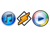 Bild: Winamp und Windows Media Player gegen den Marktführer Apple iTunes.