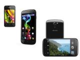 Bild: Archos stellt mit dem Carbon 35 (links), dem Titanium 50 (Mitte) und dem Titanium 53 (rechts) seine ersten Smartphones vor.