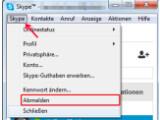Bild: Bild0: Abmelden von Skype, bevor Sie die Chronik-Daten kopieren.