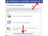 Bild: Bild1: Privatsphäre Einstellungen in Facebook öffnen.