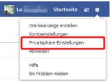 Bild: Privatsphäre-Einstellungen in Facebook auswählen.