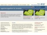 Bild: Auf dieser Seite lassen sich die Hersteller von Elektronikgeräten in Deutschland registrieren. Die Stiftung EAR soll unter anderem die Abholung des Elektronikschrotts bei den Sammelstellen organisieren.