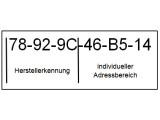 Bild: Aufbau der MAC-Adresse mit OUI (Organizationally Unique Identifier).