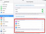 Bild: Hier können Sie die Downloads und Updates ausschalten: Einstellungen → iTunes & AppStore → Automatische Downloads → Updates.