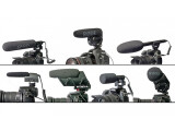 Bild: ideomikrofone v.l.n.r.: Azden Mikrofon SGM-DSLR, Rode Videomic Pro, Sennheiser MKE 600, Sennheiser MKE 400, Shure VP83F Lenshopper, Azden DSLR Mikrofon SMX-20, Rode Stereo Videomic Pro.