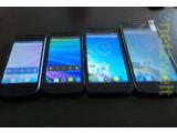 Bild: Kazam bringt mit dem Trooper X4.0 (links) und dem Trooper X5.0 (zweite von rechts) die ersten Modelle seiner Einsteiger-Smartphoneserie auf den deutschen Markt.