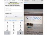 Bild: Kreditkartenzahlung leicht gemacht. Das iPhone scannt und Safari speichert die Zahlart mit iOS8.